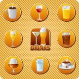 Sistema del icono del menú de las bebidas Fotografía de archivo libre de regalías