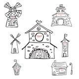 Sistema del icono del molino de viento aislado en el fondo blanco Imagenes de archivo
