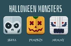 Sistema del icono del monstruo de Halloween Fotos de archivo libres de regalías