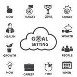 Sistema del icono del negocio, ajuste elegante de la meta Imagenes de archivo