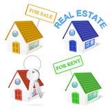 sistema del icono del negocio de 3D Real Estate stock de ilustración