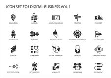 Sistema del icono del negocio de Digitaces ilustración del vector