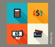 Sistema del icono del negocio Finanzas y actividades bancarias Imagen de archivo libre de regalías