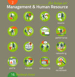 Sistema del icono del negocio Gestión, recursos humanos, comercializando Foto de archivo libre de regalías