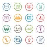 Sistema del icono del negocio que entrena En línea aprendiendo Diseño plano Fotos de archivo libres de regalías