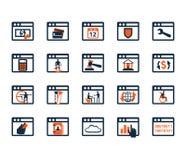 Sistema del icono del negocio Software, desarrollo web, finanzas, depositando Fotos de archivo libres de regalías