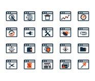 Sistema del icono del negocio Software, desarrollo web, finanzas, depositando Imagen de archivo