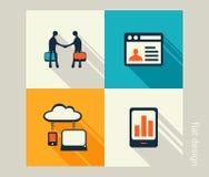 Sistema del icono del negocio Software y desarrollo web, márketing, e-co Foto de archivo