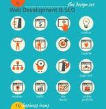 Sistema del icono del negocio Software y desarrollo web, SEO, comercializando Fotos de archivo libres de regalías