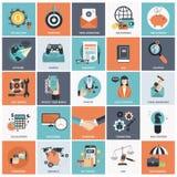 Sistema del icono del negocio y de la gestión Foto de archivo libre de regalías