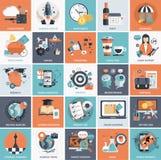 Sistema del icono del negocio y de la gestión Foto de archivo