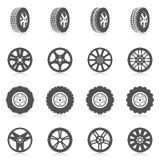 Sistema del icono del neumático Fotos de archivo libres de regalías