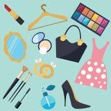 Sistema del icono del objeto del vector de la moda de las cosas de la mujer de la materia de la muchacha Imágenes de archivo libres de regalías