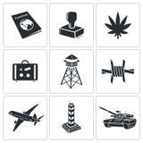 Sistema del icono del paso de frontera Imágenes de archivo libres de regalías