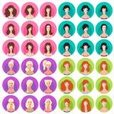 Sistema del icono del peinado de la mujer Imagen de archivo libre de regalías