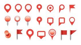 Sistema del icono del perno del mapa Fotos de archivo