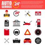 Sistema del icono del plano de servicio del coche Iconos del plano de servicio del mecánico de automóviles de la reparación y del Foto de archivo libre de regalías