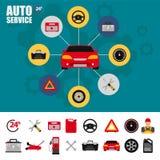 Sistema del icono del plano de servicio del coche Iconos del plano de servicio del mecánico de automóviles de la reparación y del Imagen de archivo libre de regalías