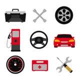 Sistema del icono del plano de servicio del coche Iconos del plano de servicio del mecánico de automóviles de la reparación y del Fotos de archivo libres de regalías
