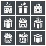 Sistema del icono del regalo Fotos de archivo
