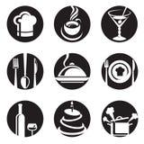 Sistema del icono del restaurante Imagenes de archivo