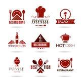 Sistema del icono del restaurante Foto de archivo