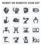 Sistema del icono del robot stock de ilustración