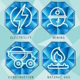 Sistema del icono del sector de energía Foto de archivo libre de regalías