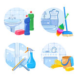 Sistema del icono del servicio de la limpieza Imagen de archivo