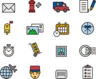 Sistema del icono del servicio postal Foto de archivo