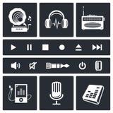 Sistema del icono del sonido y de la música Foto de archivo libre de regalías