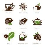 Sistema del icono del té Fotos de archivo libres de regalías