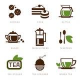 Sistema del icono del té Fotografía de archivo