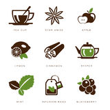 Sistema del icono del té Imágenes de archivo libres de regalías