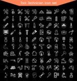 Sistema del icono del técnico de la herramienta Fotos de archivo