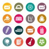 Sistema del icono del tema de la escuela Fotos de archivo libres de regalías