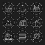 Sistema del icono del tema de la sauna Foto de archivo libre de regalías