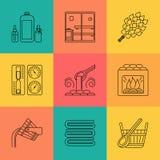 Sistema del icono del tema de la sauna Foto de archivo