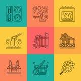 Sistema del icono del tema de la sauna Fotos de archivo libres de regalías