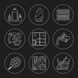 Sistema del icono del tema de la sauna Imagenes de archivo