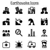 Sistema del icono del terremoto Imagen de archivo libre de regalías