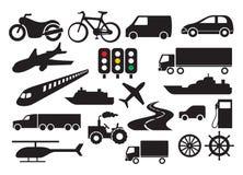 Sistema del icono del transporte Imagenes de archivo