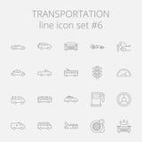 Sistema del icono del transporte Imágenes de archivo libres de regalías