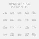 Sistema del icono del transporte Imagen de archivo