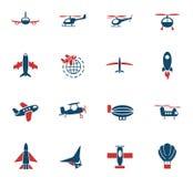 Sistema del icono del transporte aéreo Imagen de archivo libre de regalías
