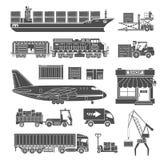 Sistema del icono del transporte y del empaquetado de cargo Foto de archivo libre de regalías