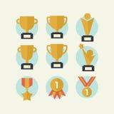Sistema del icono del trofeo Foto de archivo libre de regalías