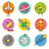 Sistema del icono del vector de la astronomía Imágenes de archivo libres de regalías