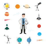 Sistema del icono del vector de la astronomía stock de ilustración