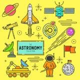 Sistema del icono del vector de la astronomía Fotos de archivo libres de regalías